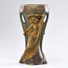 """ERNST WAHLISS Amphora two handled vase with maidens and bats, Turn-Teplitz, Bohemia, 1899-1918 Marked 15 1/2"""" x 7"""" dia."""
