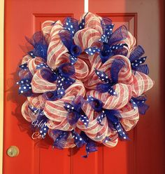 Red, white & blue mesh wreath