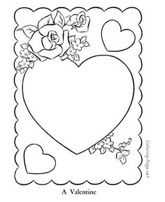 Printable valentine coloring pages.