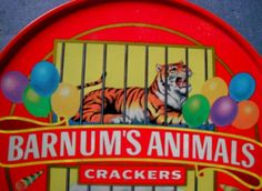 BARNUM'S ANIMAL CRACKERS TIN With Cover and Handle VINTAGE