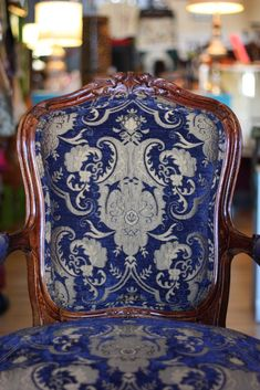 blue collect, decor, chairs, seat, color blue, rich colors blue, brocad design, blues, chair detail