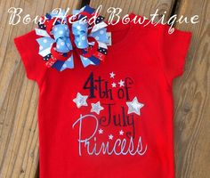 4th of July Princess Applique Boutique Shirt by BowHeadBowtiqueInc, $28.00....Yes she will be!
