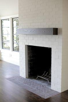 brick fireplac, mantl, white brick
