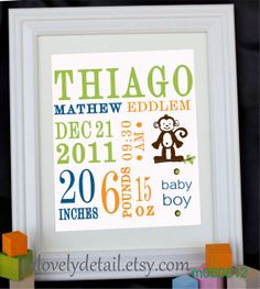Custom Personalized Nursery Wall Print 8x10 Birth by alovelydetail, $20.00