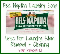 It's amazing what kinds of laundry stains Fels Naptha soap removes, from ballpoint ink, blood, grass, baseball dirt, and more. LOTS of uses listed, including unusual ones {on Stain Removal 101}