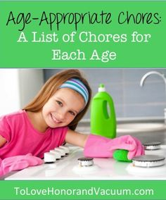 List of Age Appropriate Chores by Age of Child