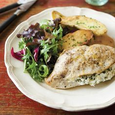 Chicken Breasts Stuffed with Goat Cheese, Arugula & Lemon Recipe - Clean Eating