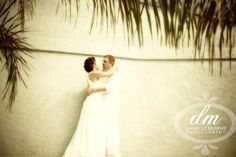Bride and groom at a Destination wedding at the sand dollar estate in St. Thomas