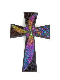 """Mosaic Wall Cross, Abstract Floral Design, """"Dandelion Wish"""", Iridescent + Textured Stained Glass, Handmade Mosaic 12"""" x 8"""" by GreenBananaMosaicCo, $45.00"""