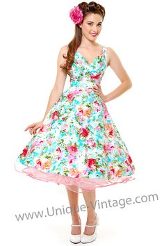 Really loving these patterned dresses for my ladies! - Stop Staring Aqua Watercolor Sweet Dreams Floral Print Swing Dress - Unique Vintage - Cocktail, Pinup, Holiday & Prom Dresses.