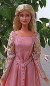 Princess bride OOAK pink belted dress for Barbie