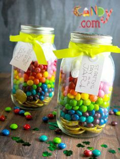 St. Patrick's Day mason jar treat: Gold coins at the bottom, Skittles and marshmallows on top