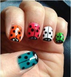50 Animal Themed Nail Arts - colorful ladybugs