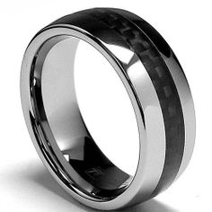 8MM Dome Men's Tungsten Carbide Ring Wedding Band W/ Carbon