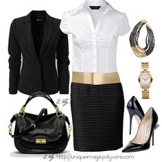 Dressy Work Wear - white work shirt, black blazer, soul texture miniskirt w/ gold elastic waistband, black classic pumps