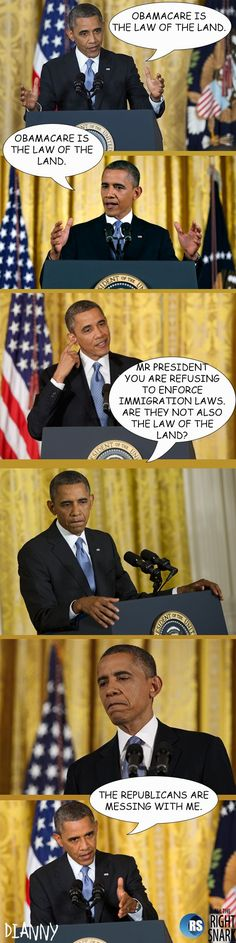 "Obama loves saying that Obamacare is the ""law of the land""…"