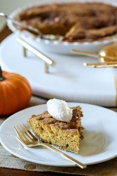 Pumpkin Snickerdoodle Pie! Pure yumminess! Get the recipe here: http://www.bhg.com/blogs/delish-dish/2013/10/30/pumpkin-snikerdoodle-pie/