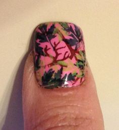 Pink camo nails Inspired by Mossy Oak