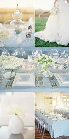 baby blue and white. Beautifully elegant. #affordableevents, #bluewedding