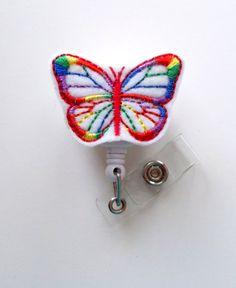 Rainbow Butterfly Nursing Badge Holder, $6.00