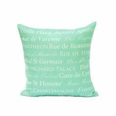 destination throw pillow cover aqua cream paris french typography linen decor 18x18 via Etsy
