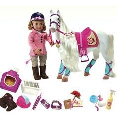 """Our Generation """"I Think I Canter"""" Bundle Includes 18"""" Doll, Horse, & Riding Accessories @brittanipurvis is this wat u were looking for?"""