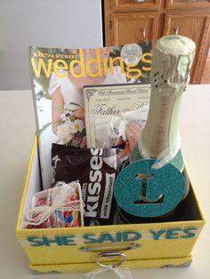 Engagement gift basket: sparkling juice, hersheys kisses, wedding ...