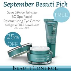 September Beauti® Pick is BC Spa Facial Restructuring Eye Creme at 25% off plus a FREE travel size!