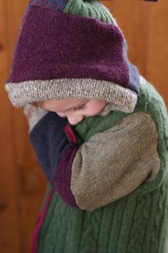 garden work, wool sweater, recycl wool, felt wool, girl coat, patchwork wool, kiddo project