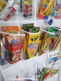 Organize kids crafts and toys with a shoe organizer