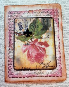 OOAK Card Collage and Ink Blank Inside All by PaperPastiche, $7.50