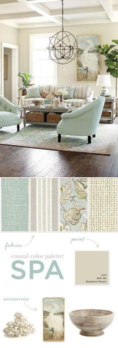 wall colors, home colors, home color palettes, color schemes, color palette living room, light fixtures, coastal colors, spa colors