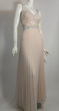 1950s pleated pink Vanity Fair nightgown with smoke blue chiffon overlay, Dorothea's Closet