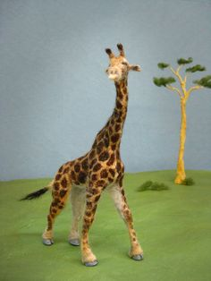 Giraffe Needle Felted by feltedwildlife on Etsy, $90.00