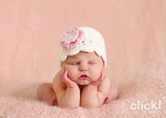 03 month cream flapper beanie with a pink by maddieloubeanies, $22.00