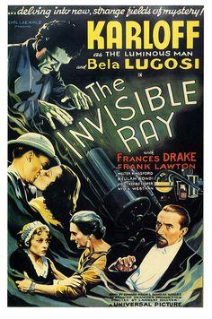The Invisible Ray, 1936, staring Boris Karloff as the Luminous Man. #vintage #1930s #movies #posters