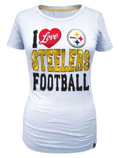 Pittsburgh Steelers Women's I Love Steelers Football White Tee