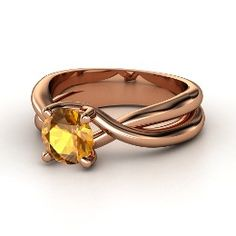 Entwined Ring, Round Citrine Rose Gold Ring from Gemvara