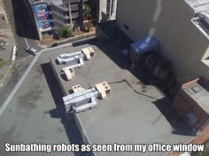 robots enjoying some sun while plotting the demise of the human race