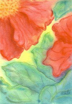 Red Ruffles - hand painted watercolor painting by ShanRachOriginals at etsy