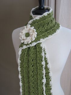 Country Crochet Cable Scarf w/ Blossom... $3.99