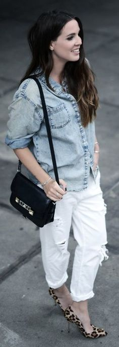 Zara White Roll-up Distressed Boyfriend Jeans by Come Over To The Dark Side We Have Candy