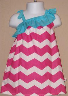 Spring Fling - Chevron Ruffled One Shoulder Dress - Baby Toddler Girl Designer Cotton Dress - Perfect for Spring Summer