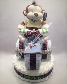 Tricycle Diaper Cake Base - Baby Boy Diaper Cakes #Babyfavorsandgifts #monkey #NewBornGifts
