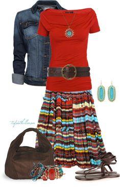 """Saltillo Skirt"" by tufootballmom on Polyvore"