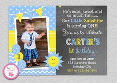 Boys Sunshine Birthday Invitation #sunshine #youaremysunshine #summerbirthday #1stbirthday