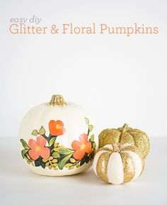 Easy Halloween DIY: Glitter & Floral Pumpkins