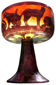 French Art Deco Cameo Glass Coupe / CHATS Le Verre Francais / Charles Schneider / 1922-24