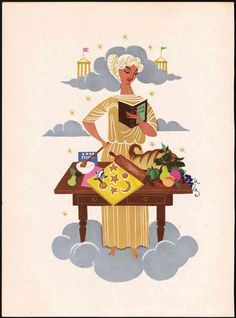 Christmas present for Rachel? :)  Goddess of Cooking   vintage illustration cookbook page Alice and Martin Provensen - Free U.S. shipping. $15.00, via Etsy.