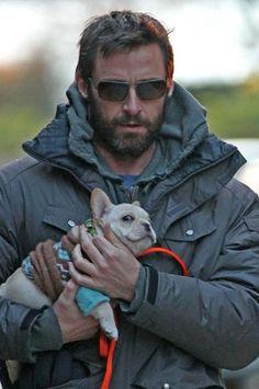 Hugh Jackman- Look at his very very happy dog!
